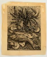 Imre István (1918-1983): Kalászok. Rézkarc, papír, jelzett, foltos, szakadásokkal, 38×20 cm