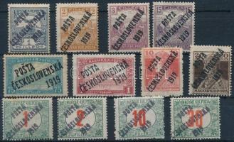 Posta Ceskoslovenska 1919 12 db megszállási bélyeg, garancia nélkül