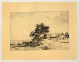 Görög Rezső (1930- ): Régi tanya. Rézkarc, papír, jelzett, 25×39 cm