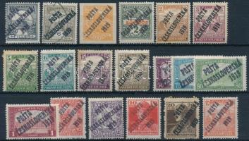 Posta Ceskoslovenska 1919 12 db megszállási bélyeg, közte 5 db bélyeg Bodor vizsgálójellel