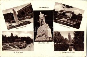 Szombathely, Éhen Gyula-szobor, Dr Geyer park, 83-as hősi emlék, Gyermekmenhely, gyöngyösparti részlet, K. N. kiadása (kis szakadás / small tear)