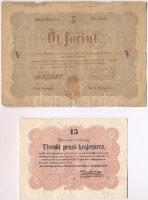 1848. 5Ft barna + 1849. 15kr Kossuth bankó T:III-
