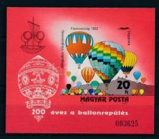 1983 200 éves a ballonrepülés vágott blokk (8.000)