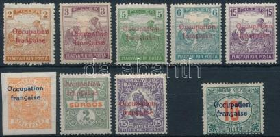 Arad 1919 9 db megszállási bélyeg, garancia nélkül