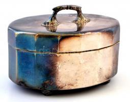 Ezüstözött alpakka cukortartó doboz, jelzés nélkül, m:8 cm, h:12 cm