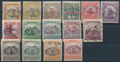 Debrecen 1919 15 db megszállási bélyeg, garancia nélkül