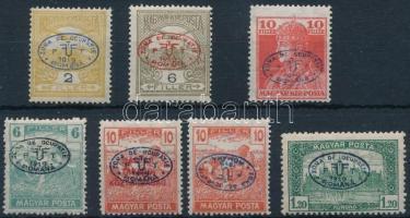 Debrecen 1919 7 db megszállási bélyeg, közte 1 db fordított felülnyomással, garancia nélkül (Arató 6f ujjlenyomat)