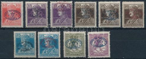Debrecen 1919 10 db megszállási bélyeg, garancia nélkül