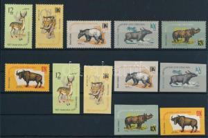 1964 Állatok fogazott és vágott sor Mi 319-324 (rozsda / stain)