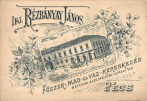 Pécs, Ifj. Rézbányay János fűszer- mag- és vaskereskedése, Rigler József Ede, floral, etching style (non PC)