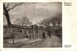 Sopron, Ikvaparti lőállások, Gimes Lajos főhadnagy alkotása, első világháborús K.u.K. tábori posta / WWI trenches in Sopron, military feldpost s: Gimes (Rb)