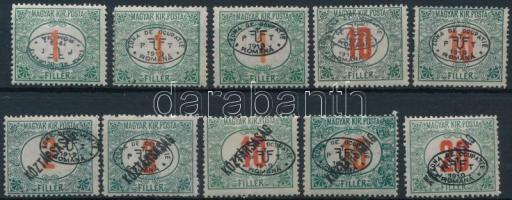 Debrecen 1919 10 db Portó bélyeg, benne 1 db érték fordított felülnyomással, garancia nélkül