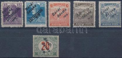Bánát Bácska 1919 6 db megszállási bélyeg, garancia nélkül