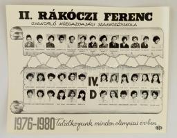 Rákóczi Ferenc Gyakorló Közgazdasági Szakközépiskola tanári kara és végzős növendékei, kistabló 40 nevesített portréval, 24x30 cm