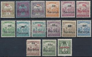Baranya I. 1919 15 db megszállási bélyeg, garancia nélkül