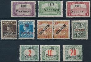 Baranya I. 1919 11 db megszállási bélyeg, garancia nélkül