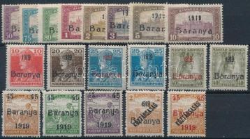 Baranya I. 1919 19 db megszállási bélyeg, garancia nélkül