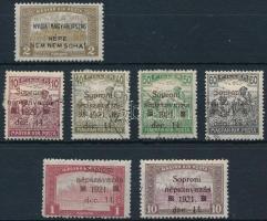 Nyugat-Magyarország IV és VIII. 1921 7 db megszállsái bélyeg, garancia nélkül