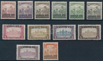 Nyugat-Magyarország III. 1921 12 db megszállási bélyeg Bodor vizsgálójellel