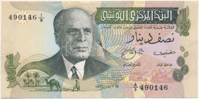 Tunézia 1973. 1/2D T:I-,II hajtatlan Tunisia 1973. 1/2 Dinar C:AU,XF unfolded Krause 69