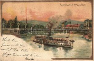 1898 Vienna, Wien; Stephaniebrücke / bridge, steamship, litho s: Rosenberger (EK)