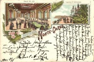 Monte Carlo, Salle de Jeu, Theatre et Terrasses / game hall, theatre, terrace, floral litho (EB)