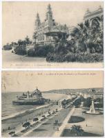 2 db RÉGI külföldi városképes lap; Monte Carlo Casino, Theatre, Nice Palais, promenade / 2 pre-1945 European town-view postcards