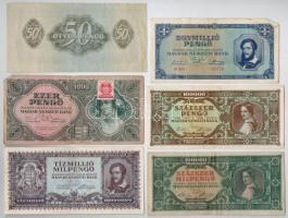 30db-os vegyes magyar pengő és adópengő bankjegy tétel T:III,III-