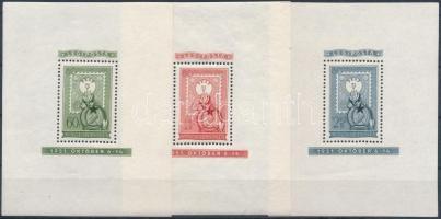 1951 80 éves a magyar bélyeg blokk sor (42.000) (betapadásnyomok, törés)
