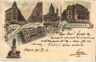 1898 Budapest, Andrássy út, Bazilika, Operaház, József Főherceg szobor, Országos Minta Rajziskola, Műcsarnok Zeneakadémia, Ottmar Zieher floral litho (EM)