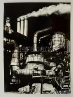 cca 1974 Gebhardt György (1910-1993): Ipartelep, feliratozott vintage fotóművészeti alkotás, 39,5x29,5 cm