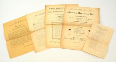 1897-1898 Wiener Männergesang-Verein farsangi dalest programja, 2 db / Faschings-Unternehmung in den Sofien-Sälen, 2 Programmblättern