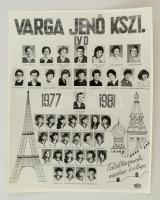 1981 Budapest, Varga Jenő KSZI tanári kara és végzős növendékei, kistabló 40 nevesített portréval, 30x24 cmcm