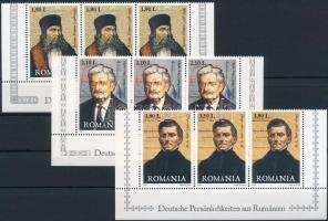2007 Német híres emberek Erdélyből sor ívsarki 3-as csíkokban Mi 6235-6237