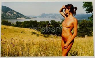 cca 1989 Dunakanyar, Menesdorfer Lajos feliratozott vintage fotóművészeti alkotása, 23,5x40 cm