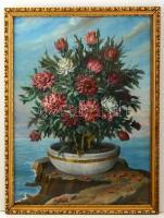Kiss Kálmán (1878-1967): Virágcsendélet. Olaj, vászon-karton, jelzett, üvegezett keretben, 75×50 cm