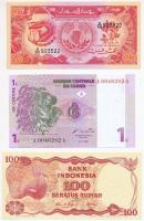 Vegyes: Indonézia 1984. 100R + Szudán 1985. 50P + Kongói Demokratikus Köztársaság 1997. 1c T:I Mixed: Indonesia 1984. 100 Rupiah + Sudan 1985. 50 Piastres + Congo Democratic Republic 1997. 1 Centimes C:UNC