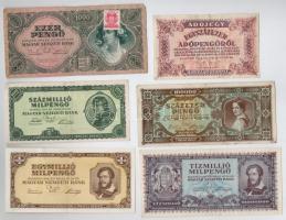 30db-os vegyes magyar pengő bankjegy tétel (benne még egy darab adópengő) T:III,III-