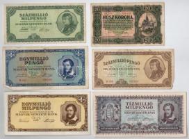 30db-os vegyes magyar pengő bankjegy tétel (benne még egy darab korona) T:II,III,III-