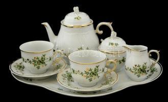 Hollóházi Erika mintás két személyes teás készlet, tállal, matricás, hibátlan