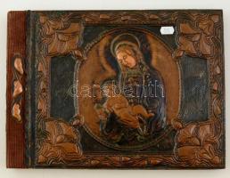 Díszalbum, Mária kis Jézussal, réz lemez borítással, 25×34 cm