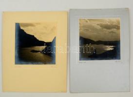 1935. október, Thöresz Dezső (1902-1963):Al-Duna, Kazán-szoros, 2 db feliratozott, aláírt vintage fotóművészeti alkotás, 17x17 cm, karton 34x24,5 cm