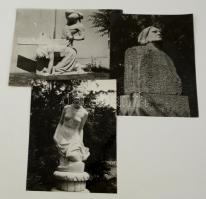cca 1937 Budapesti szobrok, 3 db vintage fotó Reich Péter Kornél hagyatékából, két kép jelzett, 30x24 cm