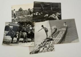 cca 1936 Budapest, külvárosi életképek, 5 db vintage fotó Reich Péter Kornél hagyatékából, két kép jelzett, 23x30 cm