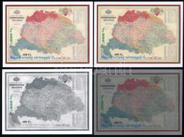 2016 Magyarország vármegyéi 0. - Kogutowicz Manó A Kárpát-medence etnikai térképe 4 db-os emlékív garnitúra azonos zöld sorszámmal, tokban
