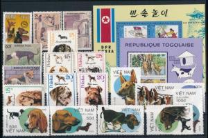 Kutya motívum 24 klf bélyeg, 1 kisív és 3 blokk 2 stecklapon