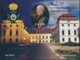 2015 Gróf Esterházy Ferenc tiszteletére emlékív, hátoldalán a pápai Esterházy-kastély felújítás utáni átadása emlékére felirattal