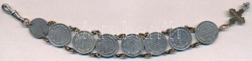 Orosz Birodalom 1902. 5k Ag + 1909-1912. 10k Ag (4xklf) + 1914. 10k Ag (3x) fülekkel, összefűzve láncon karkötőnek egy fém kereszttel T:2-3 Russian Empire 1902. 5 Kopeks Ag + 1909-1912. 10 Kopeks Ag (4xdiff) + 1914. 10 Kopeks Ag (3x) with ears, made into a bracelet with a metal cross C:XF-F Krause Y#19a.1; Y#20a.2
