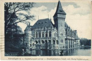 Budapest XIV. Városligeti-tó, Vajdahunyad-vára, képeslap füzetből (Rb)
