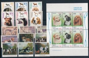 Kutya motívum 27 klf bélyeg, 1 kisív és 1 blokk 2 stecklapon